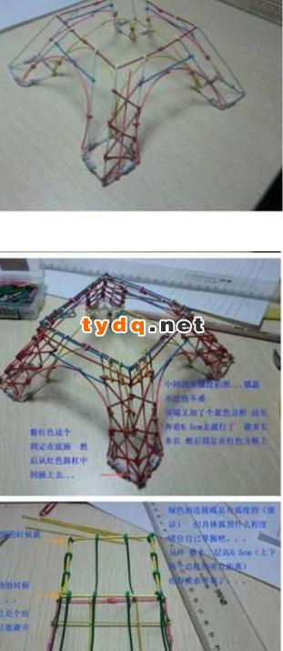 用彩色铁丝diy埃菲尔铁塔模型