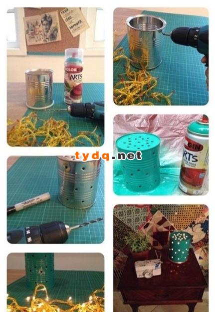 奶粉罐铁罐废物利用手工制作diy漂亮小夜灯