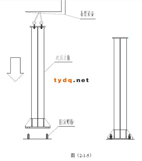 制实际尺寸就需要减去底板的尺寸,尺寸分别为3800 — 10 — 20、3800 — (—5)— 20、3800 — 15 — 20、3800 — (—10)— 20,等于3770、3785、3765、3790,为方便后续施工,免去立柱垂直度调整,立柱可先将立柱顶板、底板加强筋与柱身焊接好,如图图(2-1-6)所示:要保证顶板、底板加强筋底部与柱身垂直、及底面平面度。安装可按照上述方法